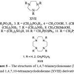 Figure 5: The structures of 1,4,7-triazacyclononane (XVII) and 1,4,7,10-tetraazacyclododecane (XVIII) derivatives