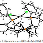 Figure 2: Molecular Structure of [Pd(k2-dppf)Cl2].CH2Cl2 Complex