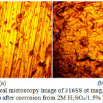 Figure 4: Optical microscopy image of 316SS at mag. x40 (a) before corrosion, (b) after corrosion from 2M H2SO4/1.5% NaCl solution