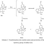 Scheme 3: Transformation into enolate anion and protection of the hydroxy group of adduct (8c)